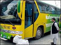 Checks on the bus in Muzaffarabad