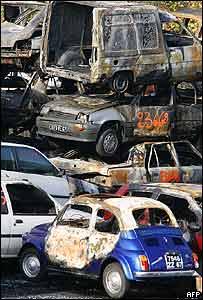 Carros quemados en Estrasburgo.