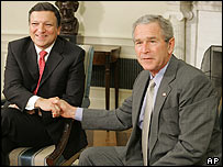 Jose Manuel Barroso and George W Bush