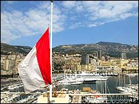 Monaco's flag is flown at half-mast at the Monaco harbour