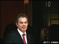 Prime Minister Tony Blair at the door of 10 Downing Street