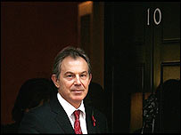 Prime Minister Tony Blair at the door of Number 10 Downing Street