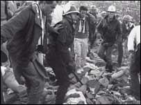 Searching for bodies in the aftermath of the Heysel disaster
