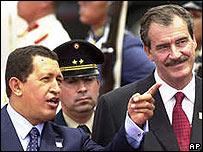 Hugo Chávez y Vicente Fox