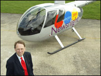 Michael Crick with the Newsnight helicopter
