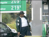 A consumer pumps gas into his car at a BP station in Highland Heights, Ohio on Wednesday, Nov. 9, 2005.