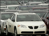 A Pontiac G6 is shown outside a General Motors assembly plant