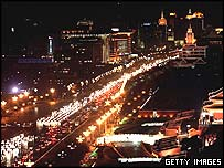 Traffic in Beijing at night