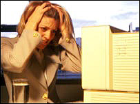 Woman stressed in an office