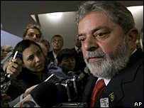Brazil's President Lula talking to journalists