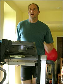 Sir Steve Redgrave on action in his treadmill