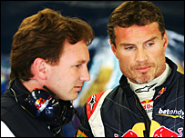 David Coulthard (right) and Christian Horner