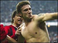 AC Milan striker Andriy Shevchenko celebrates scoring