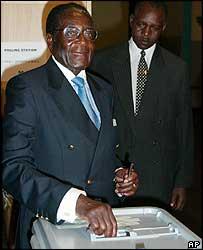 President Robert Mugabe voting