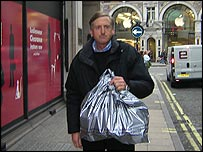 Shopper outside Dickins & Jones