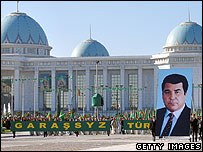 Participants of a parade celebrate the Turkmenistan Independence Day