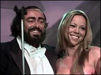 Luciano Pavarotti with Mariah Carey