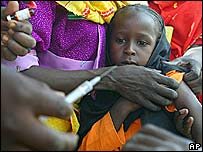 A girl about to be vaccinated in Chad, 2004