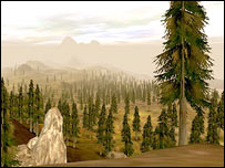 Paisaje de la isla virtual del Proyecto Entropía