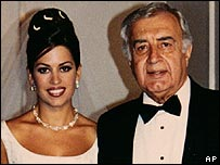 Moustapha Akkad and daughter Rima Akkad Monla at her wedding in 1999