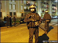 Riot police in Evreux