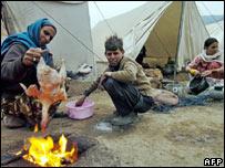 Makeshift camp in Muzaffarabad