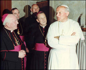 Pope John Paul II and bishops/Copyright Pontificia Felici and L'Osservatore Romano