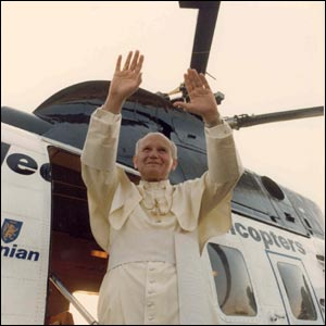 Pope John Paul II greets crowds in Scotland/Copyright Pontificia Felici and L'Osservatore Romano