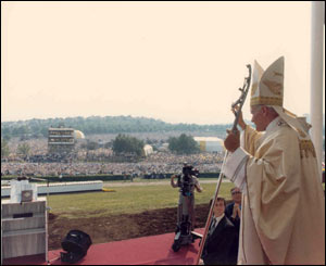 The Pope in front of crowds at Bellahouston/Copyright Pontificia Felici and L'Osservatore Romano