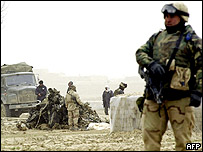 US soldier guards Chinook crash site