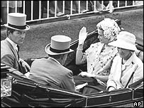 Lord Lichfield, Prince Rainier of Monaco, Princess Grace and Princess Marina at Royal Ascot in 1966