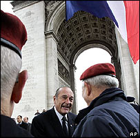 President Jacques Chirac shakes hands with WWII veterans at the Arc de Triomphe