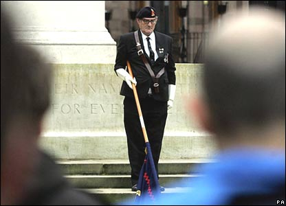 Veterans lead silence at St Peters Square, Manchester