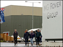 Staff leaving MG Rover's Longbridge plant on Thursday