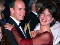 Prince Albert of Monaco with his sister Princess Caroline of Hanover