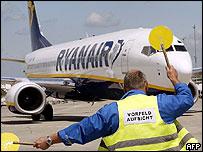 Ryanair plane at Frankfurt Hahn airport