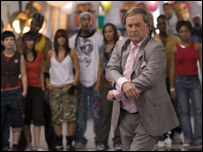 Terry Wogan at the start of his breakdance routine