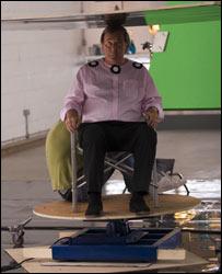 Terry Wogan with a dancefloor on his head