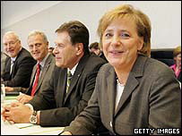 German Chancellor-designate Angela Merkel with CDU Bundestag faction