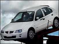 Rover car leaving Longbridge on Thursday