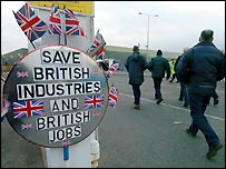 Rover workers arriving at Longbridge on Friday