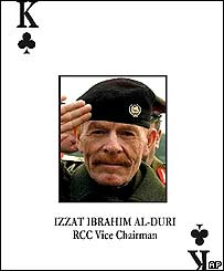 Izzat Ibrahim al-Douri on the US-issued pack of cards of most-wanted Saddam Hussein loyalists