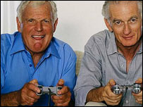 Old men playing console game, BBC