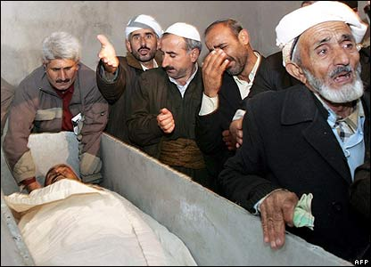 Mourners by open coffin in Semdinli