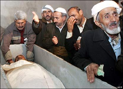 Mourners by open coffin in Semdinli