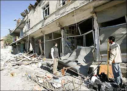 Bomb-damaged shops in Semdinli
