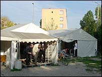 Tent mosque in Villeurbanne, a suburb of Lyon