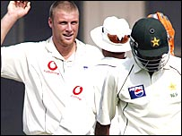 Flintoff continued his fine form with the ball