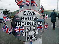 Poster outside Rover's Longbridge plant