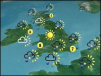 An image of Newsnight's weather map
